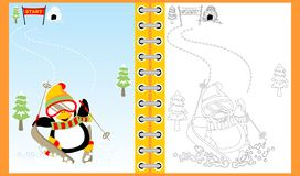 Penguin cartoon skiing on winter, coloring book/page. Vector cartoon illustration, no mesh, eps 10 vector illustration