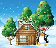 A penguin celebrating christmas Stock Photos