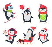 Penguin characters. Cartoon winter illustrations of wildlife animals in various action pose vector mascot design. Penguin arctic north, happy bird activity royalty free illustration