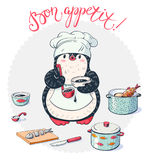 Penguin. Chef with cooking utensils and fish. Vector illustration royalty free illustration