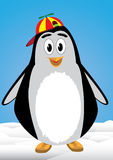 Penguin child. With bonnet above the snow Stock Image