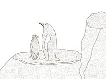Penguin with a child in Antarctica. Anti stress coloring, raster for adults. royalty free illustration