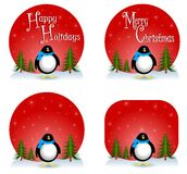 Penguin Christmas Backgrounds. An illustration featuring your choice of Christmas backgrounds or logos with a penguing and either blank versions or with 'Happy Royalty Free Stock Photos