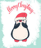 Penguin. Christmas card. Cute penguin in a cap. Hand-drawn illustration. Vector royalty free illustration