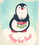 Penguin. Christmas card. Cute penguin with a gift.  Hand-drawn illustration. Vector Stock Photo