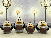 Penguin Christmas chorus Stock Images