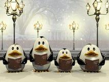 Penguin Christmas chorus. Very high resolution illustration of a penguin Christmas chorus Stock Images