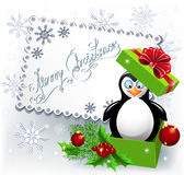 Penguin in the Christmas gift box Royalty Free Stock Photo