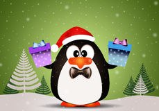 Penguin with Christmas gifts Royalty Free Stock Photography