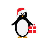 Penguin with christmas hat color  Royalty Free Stock Photo