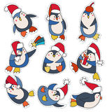 Penguin in christmas hat doodle Stock Photography