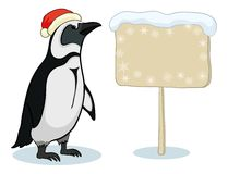 Penguin with Christmas poster Royalty Free Stock Photo
