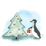 Penguin and Christmas tree. Penguin and a Christmas tree with fish and a gift Stock Photo
