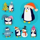 Penguin christmas vector illustration character cartoon funny cute animal antarctica polar beak pole winter bird. Royalty Free Stock Photo