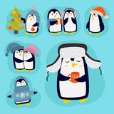 Penguin christmas vector illustration character cartoon funny cute animal antarctica polar beak pole winter bird. Penguin christmas vector illustration Royalty Free Stock Image