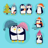 Penguin christmas vector illustration character cartoon funny cute animal antarctica polar beak pole winter bird. Penguin christmas vector illustration Royalty Free Stock Images