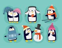 Penguin christmas vector illustration character cartoon funny cute animal antarctica polar beak pole winter bird. Stock Photos