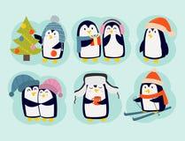 Penguin christmas vector illustration character cartoon funny cute animal antarctica polar beak pole winter bird. stock illustration