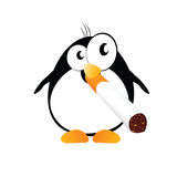 Penguin with cigarette color vector Royalty Free Stock Photo