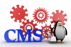 Penguin with cms content management system  illustration Royalty Free Stock Images