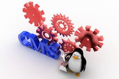 Penguin with cms content management system  illustration Royalty Free Stock Image