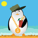 Penguin with Cocktail. Penguin wearing a cap with a cocktail Royalty Free Stock Photos