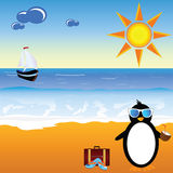 Penguin with coconut milk on the paradise beach Stock Images