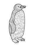 Penguin coloring book for adults vector. Illustration stock illustration