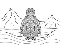 Penguin coloring book for adults vector Stock Photography