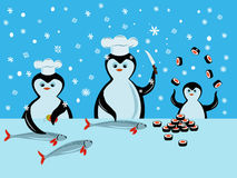 Penguin Cook. Thre penguins prepare suchi from fish Royalty Free Stock Images