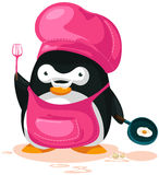 Penguin cooking. Illustration of cartoon penguin cooking on white background Royalty Free Stock Photos