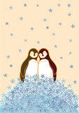 Penguin Couple. Two penguins standing close on snow flake in winter royalty free illustration