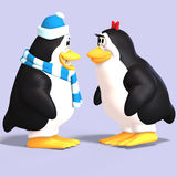 Penguin couple in love. Cute penguin couple in love with Clipping Path Stock Image