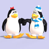 Penguin couple in love. Cute penguin couple in love with Clipping Path Stock Photography