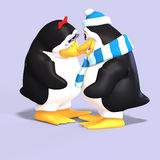 Penguin couple in love. Cute penguin couple in love with Clipping Path Stock Photos