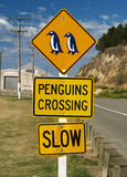 Penguin crossing sign Stock Photo