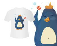Penguin in a crown T-shirt concept. Vector isolated illustration for print, textile, web and clothes Stock Photo
