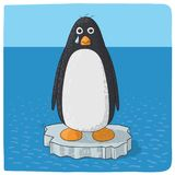 Penguin crying for climate change vector illustration
