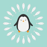 Penguin. Cute cartoon character. Fish round frame. Arctic animal collection.  Baby bird. Flat design Royalty Free Stock Photo