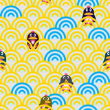 Penguin cute play seamless pattern Royalty Free Stock Photography