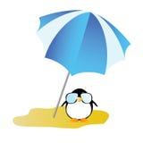 Penguin on a desert island art vector illustration Stock Photo
