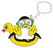 Penguin diver dreaming about something. Penguin diver boy in mask with snorkel lying on the inflated duck next to the clean callout vector illustration
