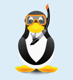 Penguin diver. With goggles and snorkel Stock Images