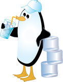 Penguin Drinking Ice Water. Cute illustration of a penguin wearing a baseball cap, leaning on a stack of large ice cubes while sipping ice water in a glass from stock illustration