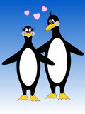Penguin Duo. Cartoon illustration penguin series, penguin duo in love Royalty Free Stock Photo