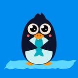 Penguin Eating Fish on Ice. Vector Illustartion Stock Photo