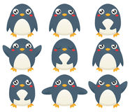 Penguin Emoticons. A collection of nine cartoon penguin characters expression different emotions Stock Photo