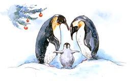 Penguin family. Happy penguin family on xmas (Cbm painting Royalty Free Stock Image