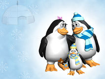 Penguin Family. Penguin Parents looking all lovey dovey at each other.  Baby Penguin has pacifer in beak and holding teddy rattle.  Igloo, snow and snowflakes