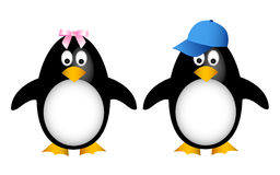 Penguin family with child. Cartoon penguin family with child Royalty Free Stock Photo